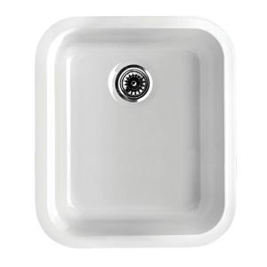 Whitehaus Collection Fireclay Undermount Kitchen Sink - Single Bowl - White