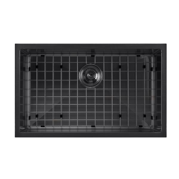 Whitehaus Collection Dual Mount Kitchen Sink Set - Single Bowl - Matte Black