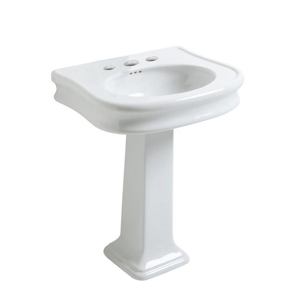 Whitehaus Collection Pedestal Bathroom Sink with Overflow - 27.5-in - White