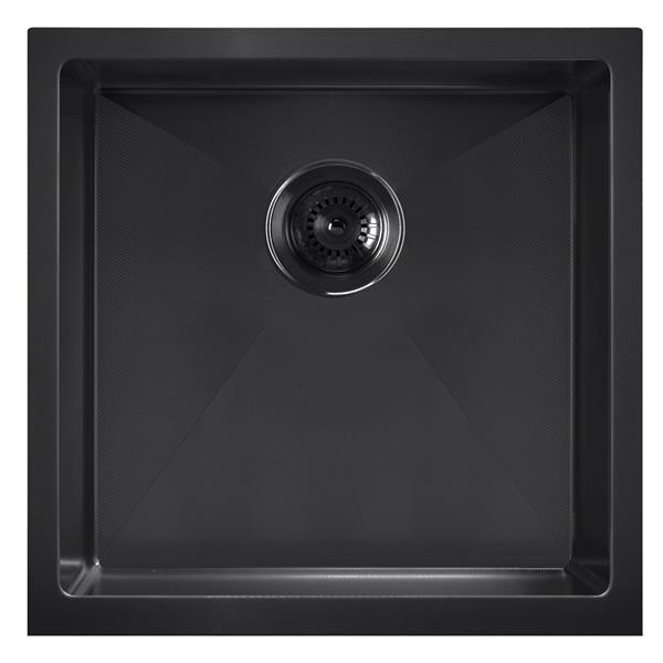 Whitehaus Collection Dual Mount Kitchen Sink - Square Single Bowl - Matte Black