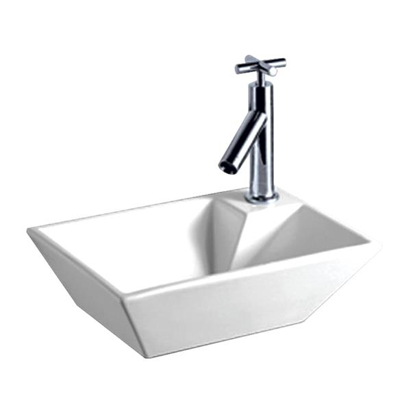Whitehaus Collection Wall Mount Bathroom Sink - 14.1-in x 10.25-in - White