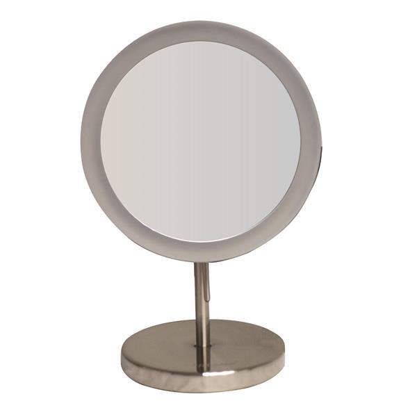 Whitehaus Collection Freestanding Round Mirror - LED - Nickel