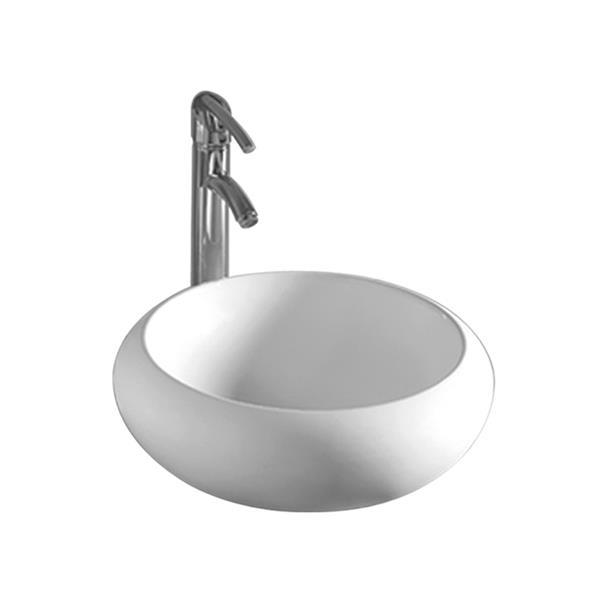 Whitehaus Collection Round Bathroom Sink with Centre Drain - 17.75-in - White