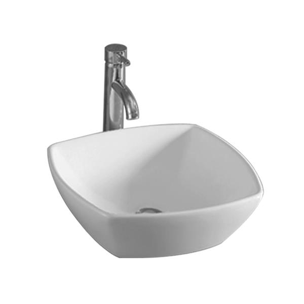 Whitehaus Collection Square Bathroom Sink with Centre Drain - 16-in - White