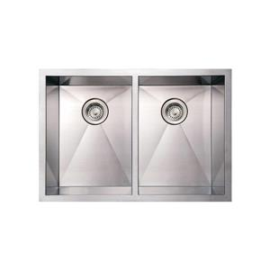 Whitehaus Collection Commercial Undermount Sink - Double Bowl - 29-in - Stainless
