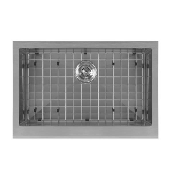 Whitehaus Collection Undermount Front Apron Kitchen Sink - Single Bowl - Grey