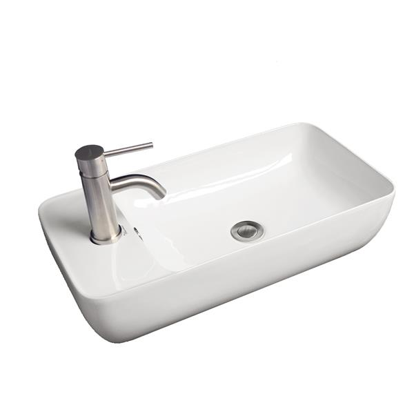 Whitehaus Collection Rectangular Bathroom Sink with Overflow - 18.5-in x 12-in -White