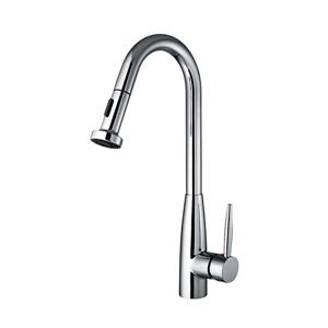 Whitehaus Collection Single Handle Kitchen Faucet with Pull-Down Sprayer - Chrome