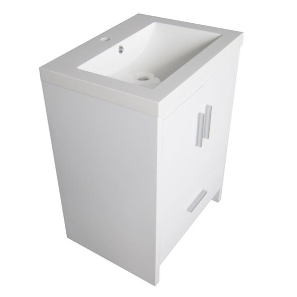 Luxo Marbre Smally Bathroom Vanity - 24.5-in - Lacquered White