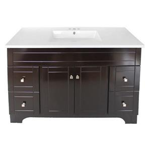 Luxo Marbre Mirano 2-Door Bathroom Vanity - 49-in - Lacquered Dark brown