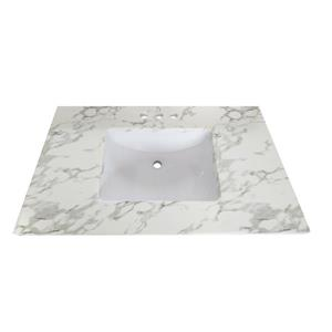 Luxo Marbre Quartz Bathroom Countertop - 49-in x 22-in - White
