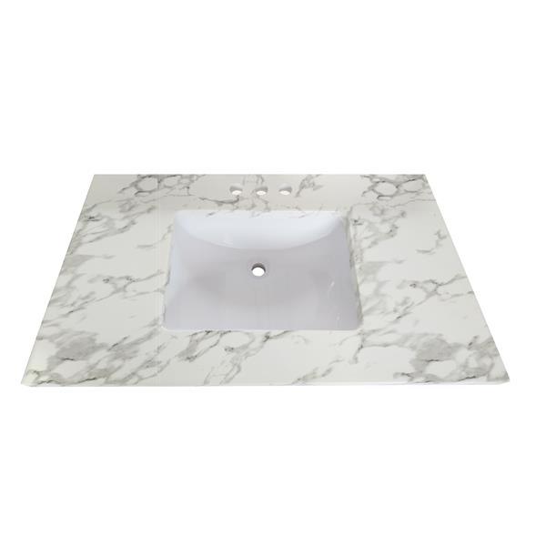 """Dessus de meuble-lavabo en quartz, 49"""" x 22"""", blanc"""