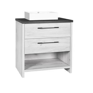 Luxo Marbre Bold Bathroom Vanity - 30-in -Old White Wood Veneer