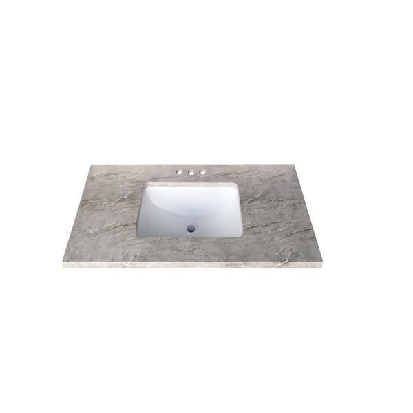 Luxo Marbre Quartz Bathroom Countertop - 37-in x 22-in - Grey