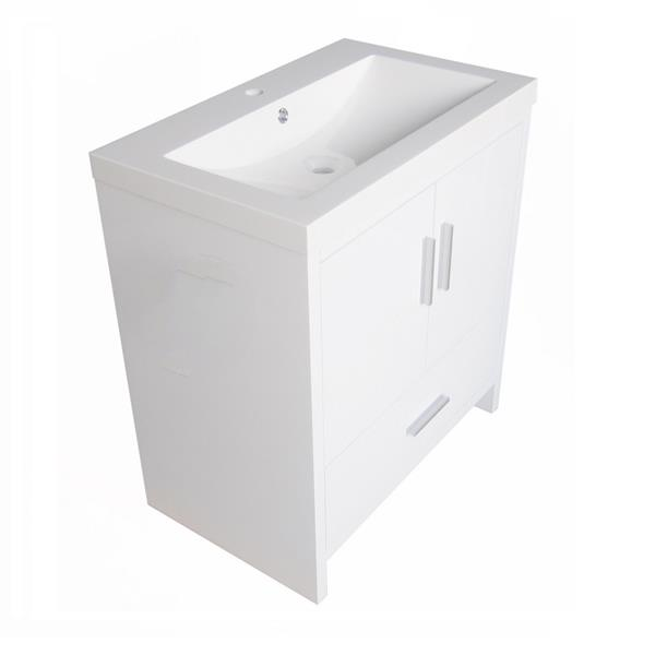Luxo Marbre Smally Bathroom Vanity - 30.12-in - Lacquered White