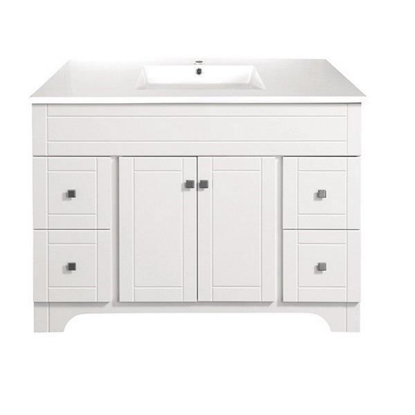 Luxo Marbre Mirano 2-Door Bathroom Vanity - 49-in - Lacquered White