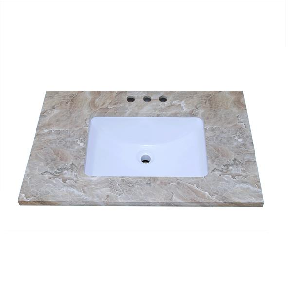 Luxo Marbre Quartz Bathroom Countertop - 37-in x 22-in - Brown