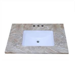 """Dessus de meuble-lavabo en quartz, 37"""" x 22"""", brun"""