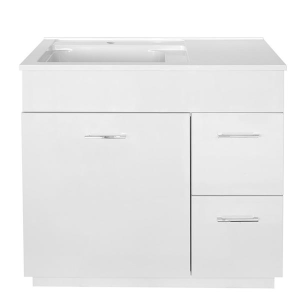 Luxo Marbre Tender Bathroom Vanity -  36-in - Lacquered White