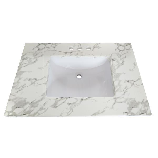 Luxo Marbre Quartz Bathroom Countertop - 37-in x 22-in - White