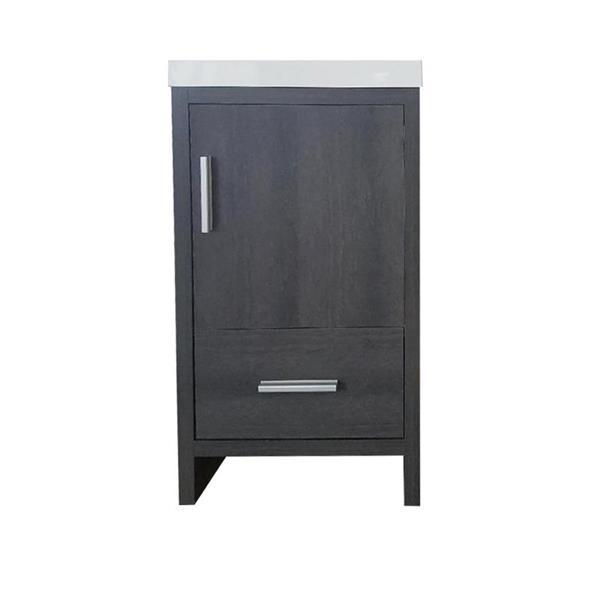 Meuble-lavabo simple Smally de Luxo Marbre, 18 po, gris graphite