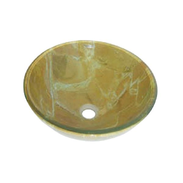 Luxo Marbre Glass Bathroom Sink - 16.5-in- Yellow Marbled