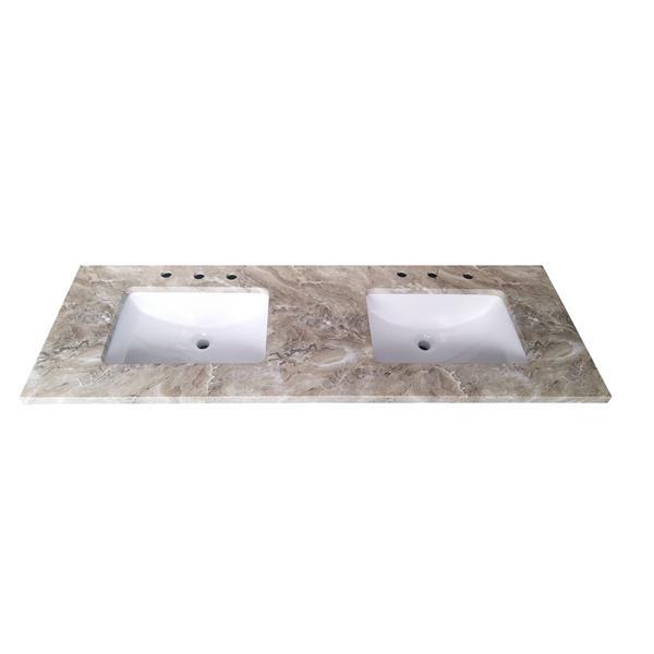 Luxo Marbre Quartz Bathroom Countertop - 61-in x 22-in - Brown