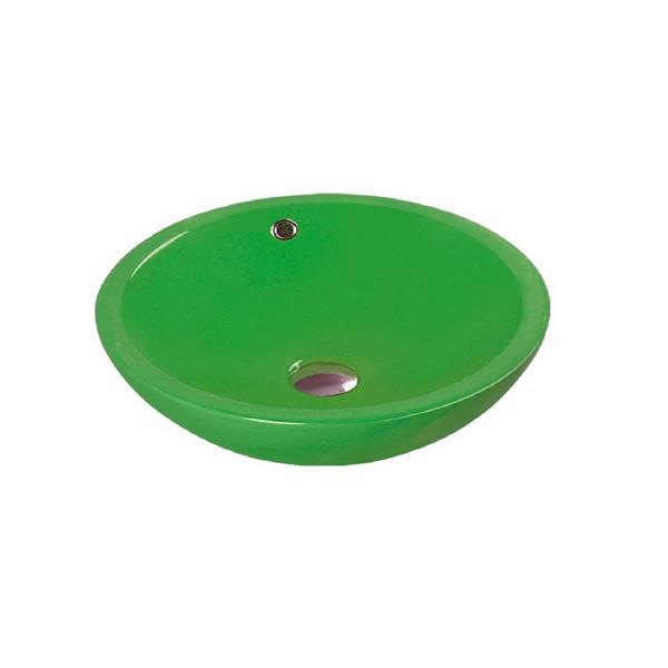 """Lavabo en céramique avec trop-plein, 17,25"""", vert"""