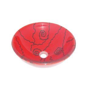 """Lavabo en verre, 16.5"""", motifs de spirales"""