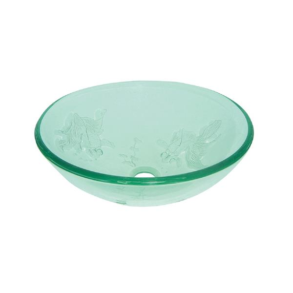 Luxo Marbre Glass Bathroom Sink - 16.5-in - Clear/Fish