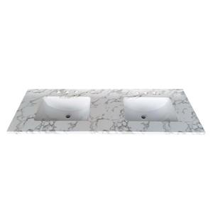 Luxo Marbre Quartz Bathroom Countertop - 61-in x 22-in - White