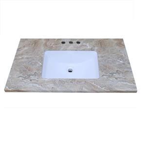 """Dessus de meuble-lavabo en quartz, 49"""" x 22"""", brun"""