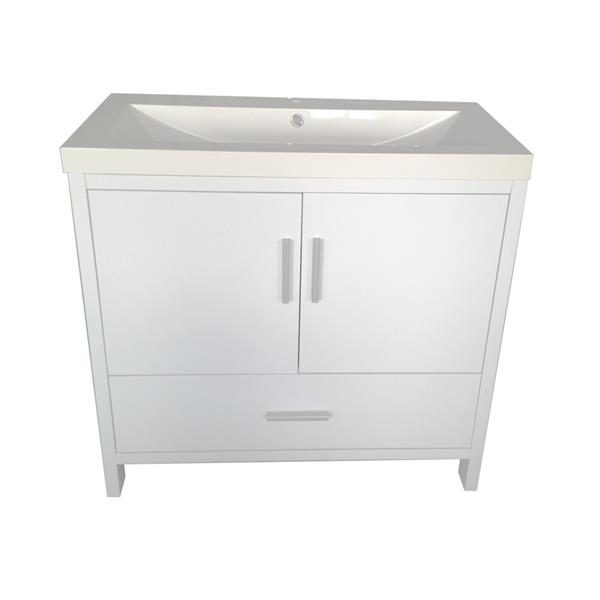 Luxo Marbre Smally Bathroom Vanity - 35.5-in - Lacquered White