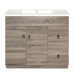 Luxo Marbre Eco Bathroom Vanity - 37-in - Wood Veneer Brown