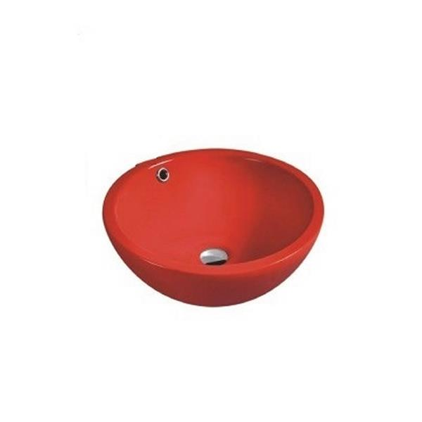 Luxo Marbre Ceramic Bathroom Sink with Overflow -17.25-in- Red