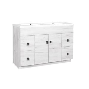 Luxo Marbre Eco Bathroom Vanity - 49-in - Old White Wood Veneer