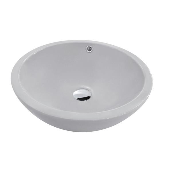 """Lavabo en céramique avec trop-plein, 17,25"""", gris"""