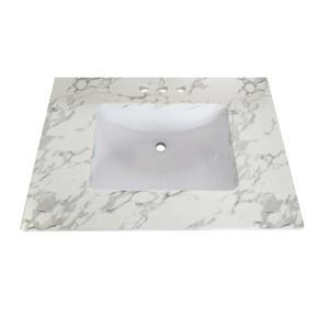 Luxo Marbre Quartz Bathroom Countertop - 31-in x 22-in - White