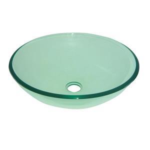 Luxo Marbre Glass Bathroom Sink - 16.5-in - Clear
