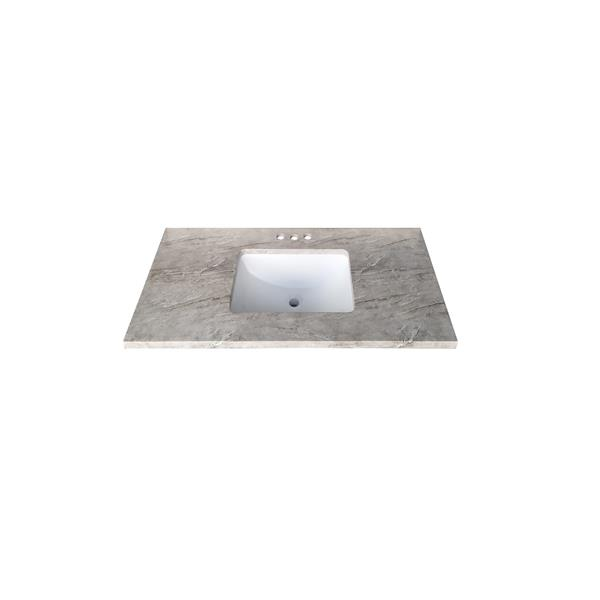 Luxo Marbre Quartz Bathroom Countertop - 31-in x 22-in - Grey