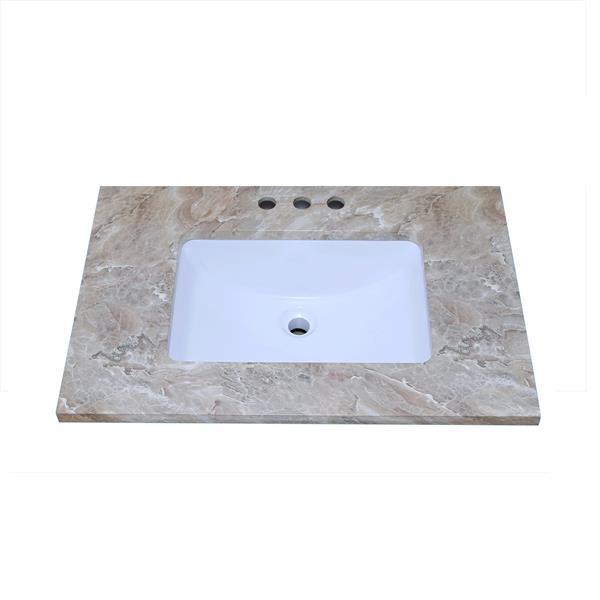 """Dessus de meuble-lavabo en quartz, 31"""" x 22"""", brun"""