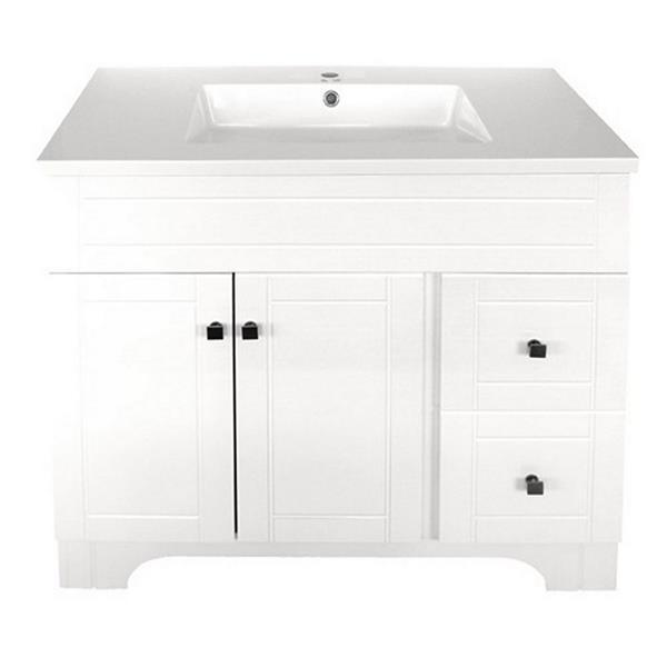 Luxo Marbre Mirano 2-Door Bathroom Vanity - 37-in - Lacquered White