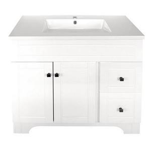 Luxo Marbre Mirano 2-Door Bathroom Vanity - 37-in - Lacquered White
