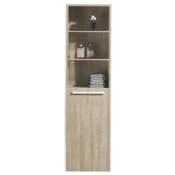 Luxo Marbre Bathroom Side Cabinet - 15.75-in x 59-in - Light Oak