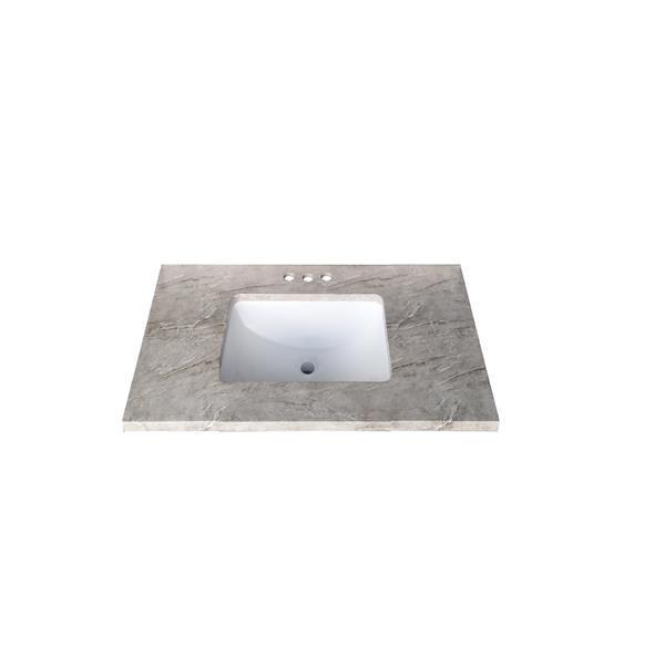 Luxo Marbre Quartz Bathroom Countertop - 25-in x 22-in - Grey