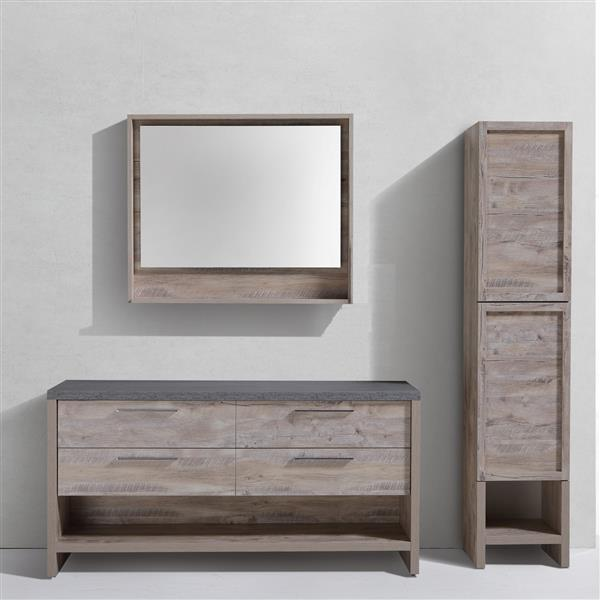Luxo Marbre Country Mirror with LED Light - 35.5-in x 29.5-in - Veneer Wood-Natural