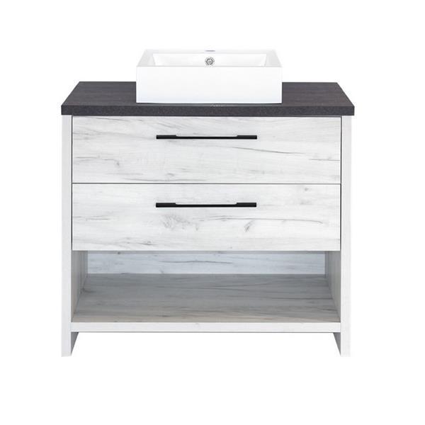 Luxo Marbre Bold Bathroom Vanity - 36-in -Old White Wood Veneer