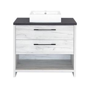 Luxo Marbre Bold Bathroom Vanity - 36-in -Old White Wood Veneer