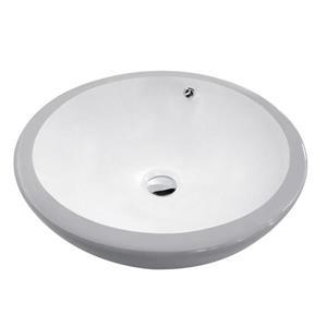"""Lavabo en céramique avec trop-plein, 17,25"""", blanc/gris"""