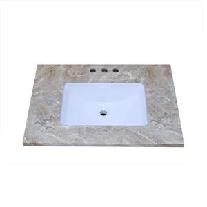 """Dessus de meuble-lavabo en quartz, 25"""" x 22"""", brun"""